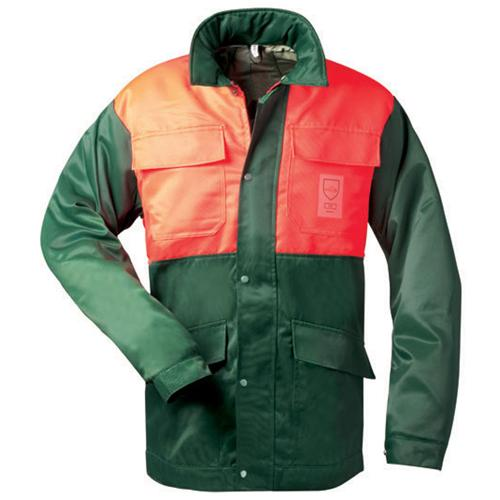 Schnittschutzjacke, grün / leuchtorange