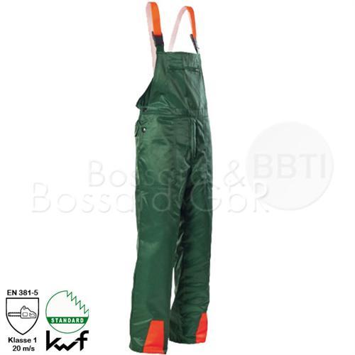 Forstschutz-Latzhose, grün, Schnittschutzklasse 1 Typ A