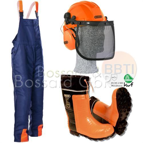 3-teiliges Forstschutzset, blau Latzhose, Stiefel, Helm