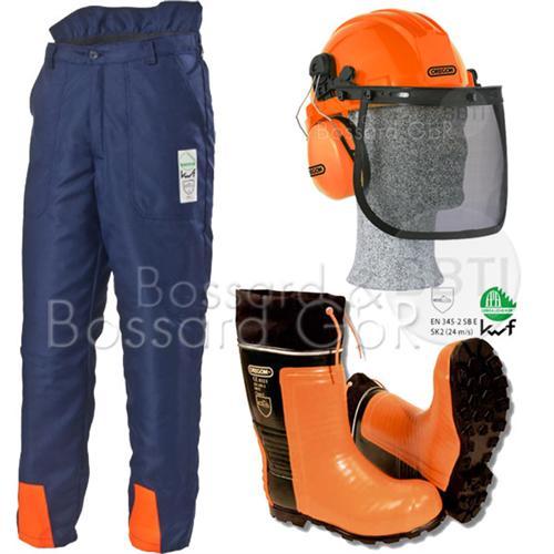 3-teiliges Forstschutzset, blau Bundhose, Stiefel, Helm