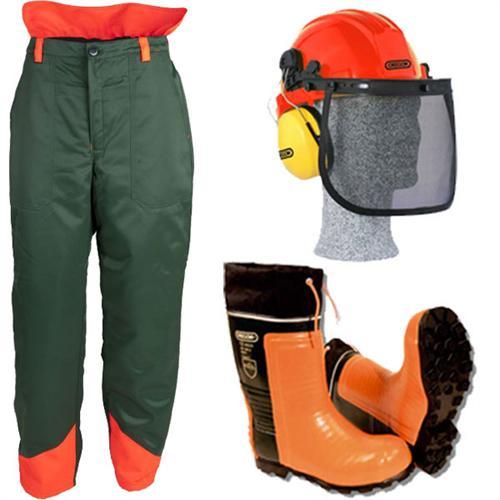 3-teiliges Forstschutzset, grün - Bundhose, Stiefel, Helm
