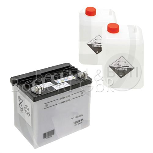 McForst Batterie 12V, 24 Ah, Pluspol rechts,  inkl. Säure