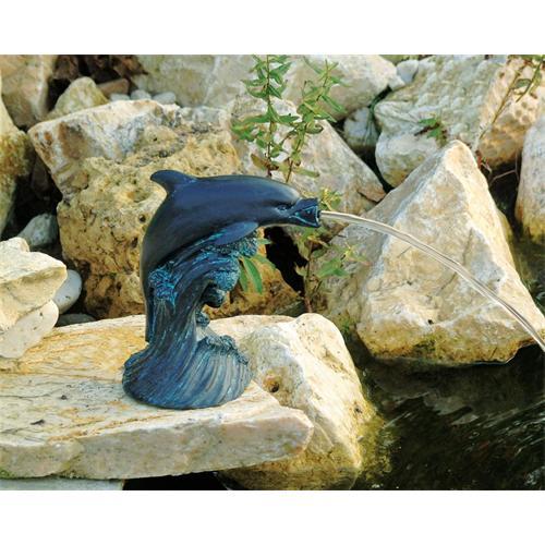 UBBINK Wasserspeier Delfin,  18 cm Polyresin in Bronze/Patina-Optik