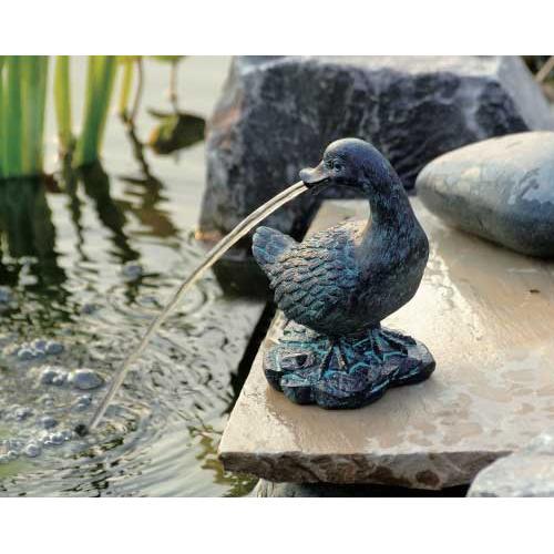 UBBINK Wasserspeier Ente klein, 17 cm Polyresin in Bronze/Patina-Optik