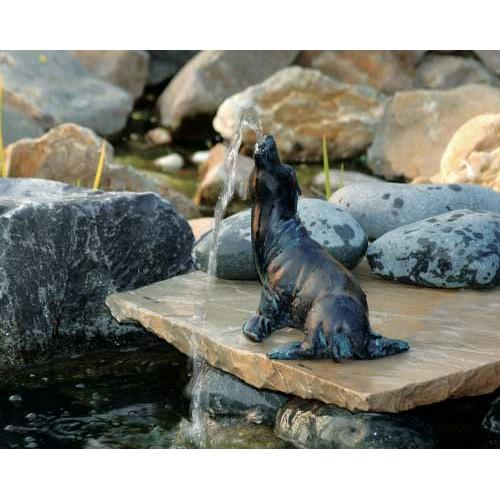 UBBINK Wasserspeier Seehund,  17 cm Polyresin in Bronze/Patina-Optik