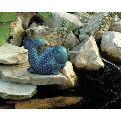 UBBINK Wasserspeier Fisch, mittelgroß, 15 cm Polyresin in Bronze/Patina-Optik