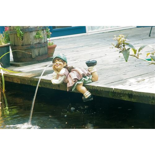 UBBINK SoArte - Mädchen liegend, Wasserspeier 18x35x21 cm