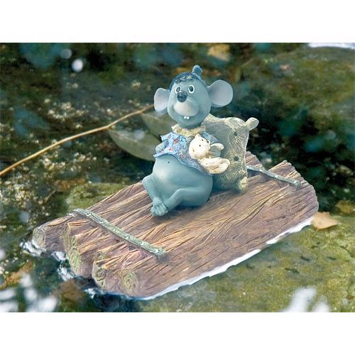 1386242 - UBBINK Deko Figur Maus auf Floß 11x17.5x11 cm
