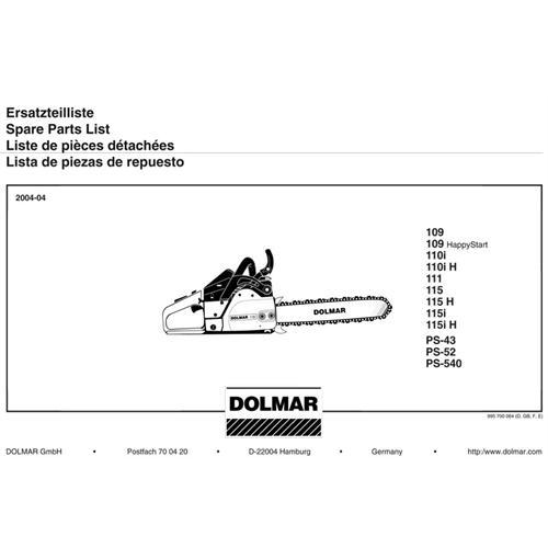 DOLMAR-Ersatzteilliste 109, 110, 111, 115, PS-43, PS-52, PS-540