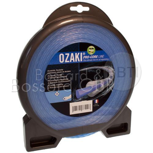 OZAKI - Pro-Core Line Mähfaden 3,3 mm x 46 m, lärmarm, blau