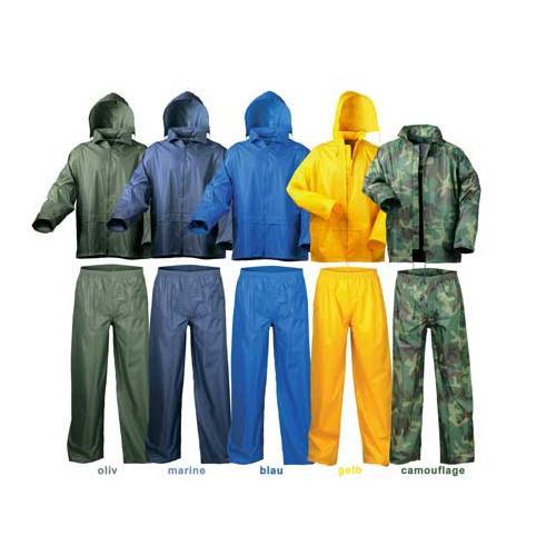 Regenanzug: gelb, oliv, blau, marine o. camouflage